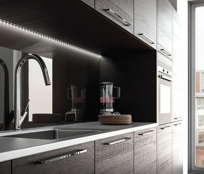 modern lighting in fitted kitchen led