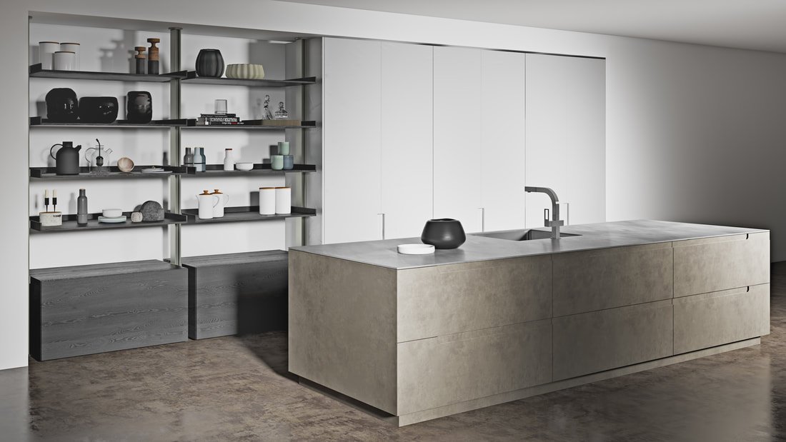 bespoke luxury kitchen with open shelves