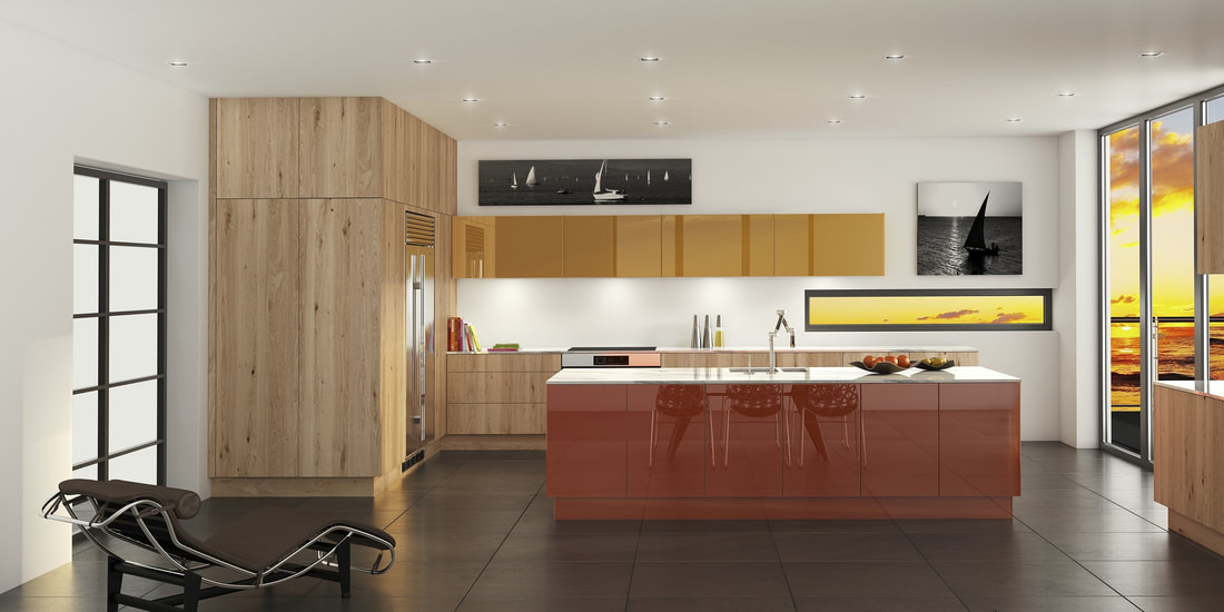 orange painted kitchen with knotty oak veneer