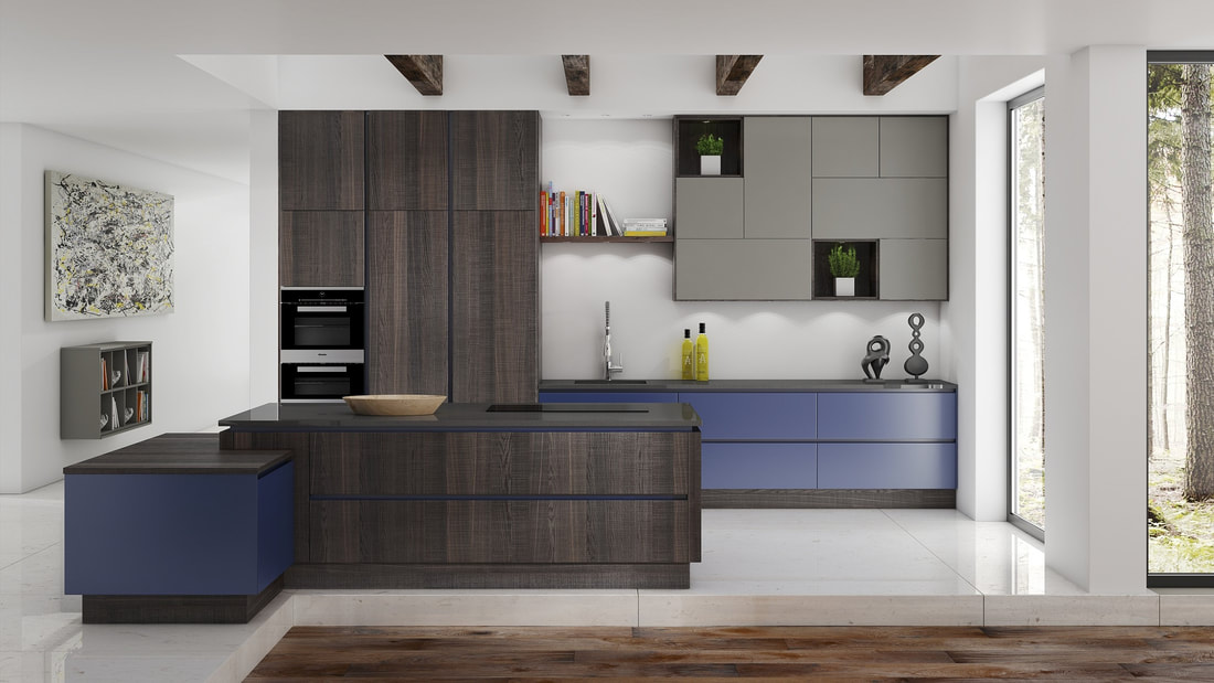 blue painted kitchen modern style with veneered oak
