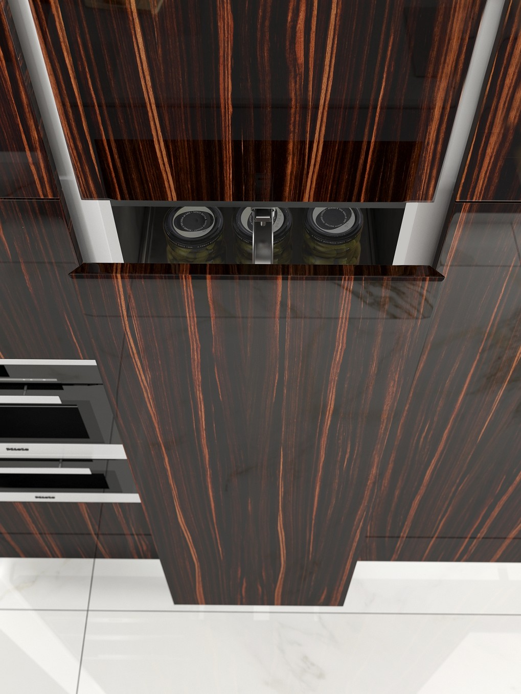 high gloss veneered kitchen