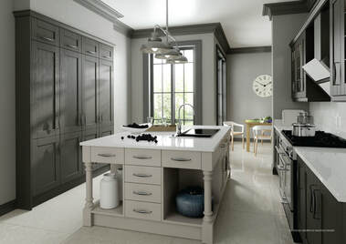 Painted shaker kitchen grey