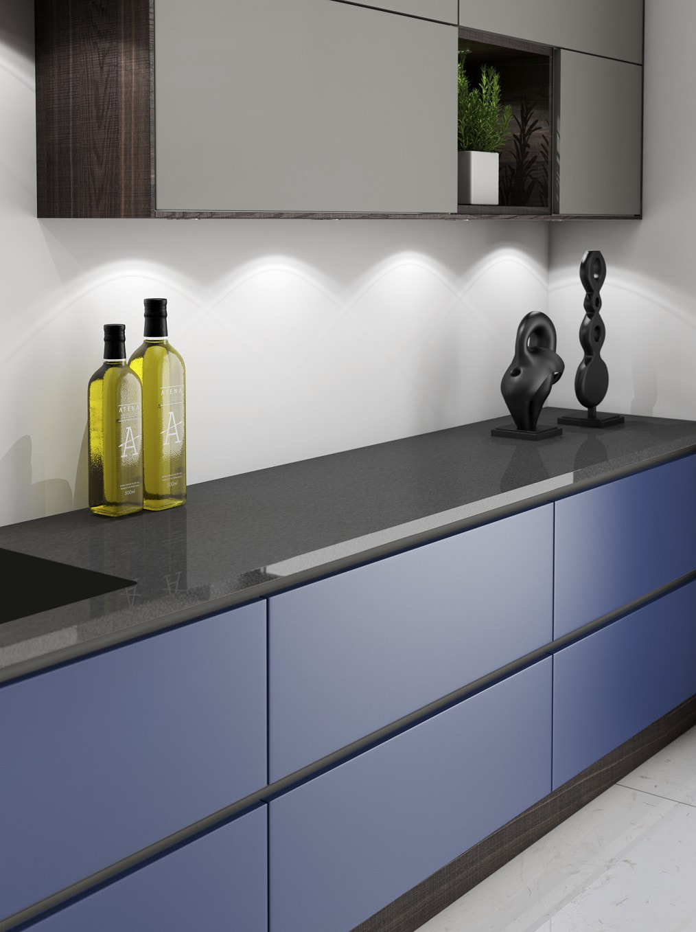 Blue lacquered bepoke painted kitchen